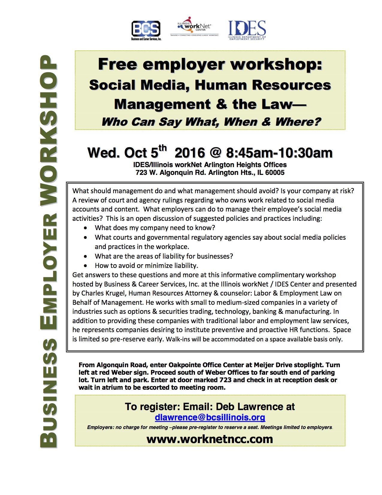 10/5/16 & 10/26/16 Social Media & HR Law Presentations at